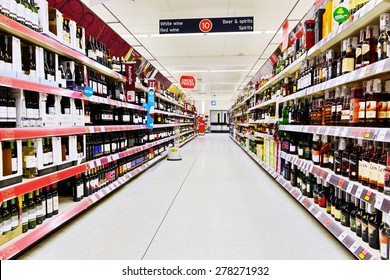 LONDON - MAR 7: A general view of an empty aisle at a Sainsbury's supermarket on Mar 7, 2015 in London, UK. Sainsbury's is the UK's second largest supermarket with a revenue of £23 bln in 2013.