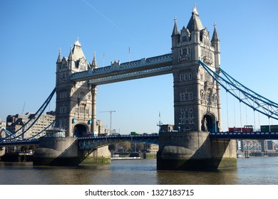 LONDON - MARCH 1, 2019 : Tower Bridge is a combined bascule and suspension bridge built between 1886 and 1894. It crosses the River Thames close to the Tower of London, in London,