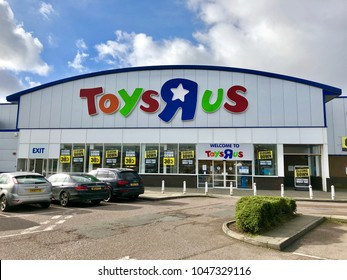 LONDON - MARCH 16, 2018: Closing down price reduction banners following the liquidation of Toys R Us in Brent Cross, North London, UK.