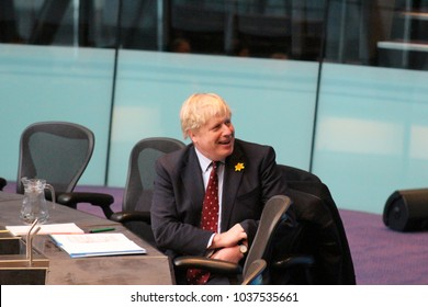 London, March 1st 2018 - British foreign secretary and former Mayor of London Boris Johnson MP appears before members of the London Assembly at City Hall on the banks of the River Thames