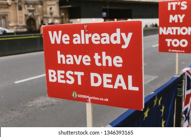 LONDON - MARCH 20, 2019: Banner placard signs at Brextit protest in Westminster London