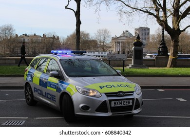 London, March 2017 - A marked police car operated by London's Metropolitan Police Service