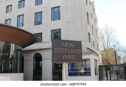 London, March 2017 - The world famous rotating sign outside New Scotland Yard, the headquarters of London's Metropolitan Police Service which is located at Westminster on the banks of the River Thames