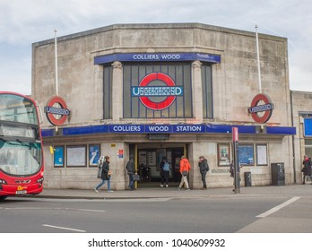 LONDON- MARCH, 2018: Colliers Wood Station exterior, an Underground station in south west London on the Northern Line