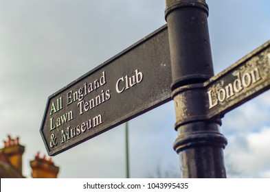 LONDON- MARCH, 2018: Directional sign post for the world famous All England Lawn Tennis Club and Museum, the home of Tennis in England and annual Championships