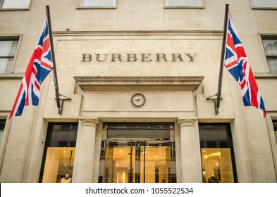LONDON- MARCH, 2018: Exterior of the Burberry store on New Bond Street, a high end British fashion label.