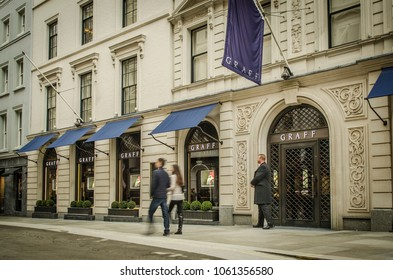 LONDON- MARCH, 2018: Exterior of the Graff jewellery store on Bond Street, London- a luxury brand specialising in diamonds