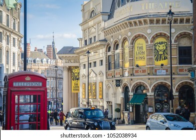 LONDON- MARCH, 2018: Exterior of the Lyceum Theatre, home of the hugely popular and successful Lion King musical in London's West End district