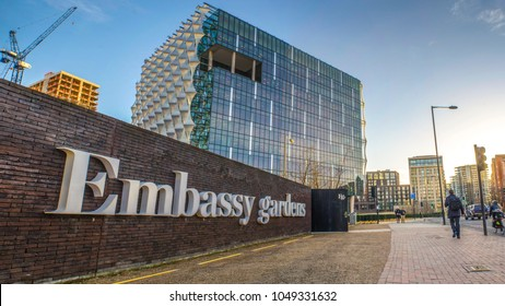 LONDON- MARCH, 2018: Exterior of the new United States Embassy building and Embassy Gardens sign in Nine Elms, Wandsworth, south west London.
