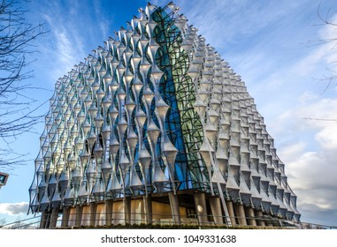 LONDON- MARCH, 2018: Exterior of the new United States Embassy building in Nine Elms, Wandsworth, south west London.