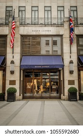 LONDON- MARCH, 2018: Exterior of the Ralph Lauren flagship shop on New Bond Street in Mayfair, London. A luxury American fashion brand
