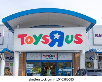 LONDON- MARCH, 2018: Exterior signage of Toys R Us store in Colliers Wood, south west London