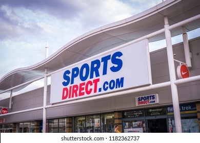 LONDON- MARCH, 2018: Exterior signage of Sports Direct store in south west London.