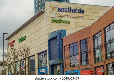 LONDON- MARCH, 2018: Exterior of Southside shopping centre on Wandsworth High Street in south west London