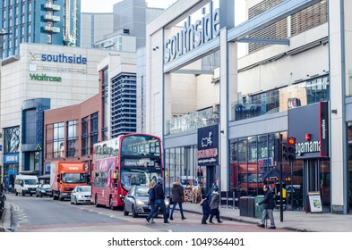 LONDON- MARCH, 2018: Exterior of Southside Shopping Centre and street scene on Garratt Lane, Wandsworth, south west London