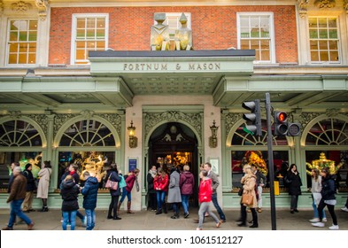 LONDON- MARCH, 2018: Main entrance of Fortnum & Mason, an upmarket department store on Piccadilly, London.