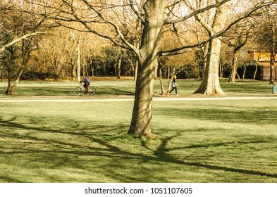 LONDON- MARCH, 2018: People exercising on Wandsworth Common, south west London. A large open space next to Bellevue Road and popular recreational area in south west London