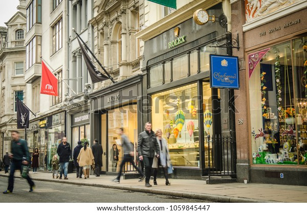 LONDON- MARCH, 2018:  Shoppers on Bond Street, a high end shopping street in London's Mayfair district