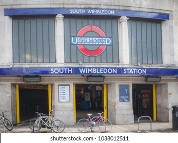 LONDON- MARCH, 2018: South Wimbledon Station, a London Underground station on the Northern Line in Wimbledon, Merton, south west London