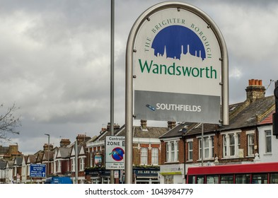 LONDON- March, 2018: Southfields boundary sign in Wandsworth, an affluent residential area in south west London close to Wimbledon