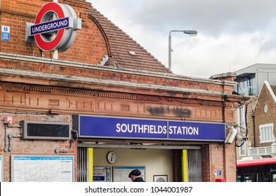 London- March, 2018: Southfields Station exterior in south west London. A London underground station on the District Line.