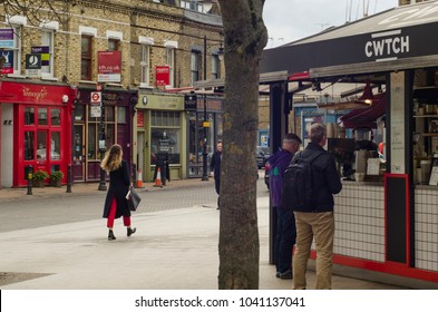 LONDON- MARCH, 2018: View of Old York Road close to Wandsworth Town station. A high street area in the south west London Borough of Wandsworth