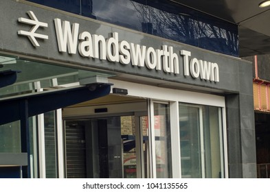 LONDON- MARCH, 2018: Wandsworth Town train station in south west london, exterior signage and logo