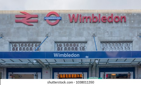 LONDON- MARCH, 2018: Wimbledon train station exterior and signage. A train station with interchange between National Rail, London Underground District Line, and Tramlink