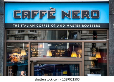 LONDON- MARCH, 2019: Caffe Nero exterior, a British chain of Italian style coffee houses based in London