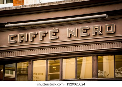 LONDON- MARCH, 2019: Caffe Nero store sign, a British chain of Italian coffee shops based in London