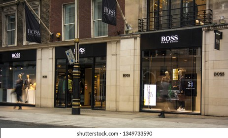 LONDON- MARCH, 2019: Exterior of Hugo Boss store on Bond Street, a famous American luxury fashion brand