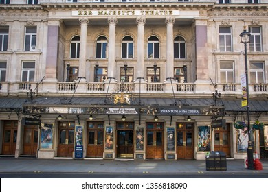 LONDON- MARCH, 2019: Her Majesty's Theatre on Haymarket. A West End Theatre currently showing The Phantom of the Opera