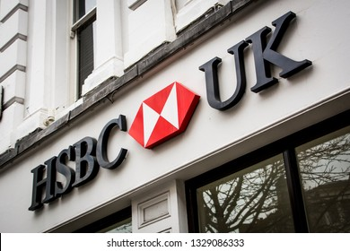 LONDON- MARCH, 2019: HSBC UK branch exterior signage- high street store of British multinational banking company