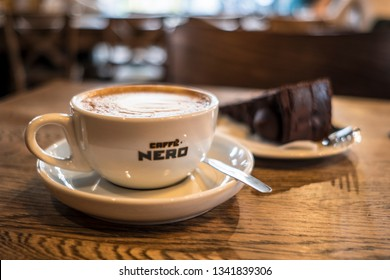 LONDON- MARCH, 2019: Interior shot of Caffe Nero coffee and cake. A large chain of high street Italian style coffee shops based in London