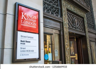 LONDON- MARCH, 2019: King College London exterior logo. A world renowned public research University on the Strand in London's West End