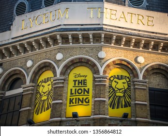 LONDON- MARCH, 2019: The Lion King at the Lyceum Theatre, a hugely popular West End show.