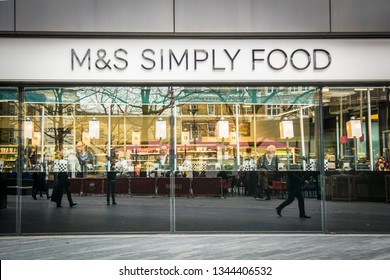 LONDON- MARCH, 2019: Marks & Spencer's Simply Food branch exterior. A British food retail company.