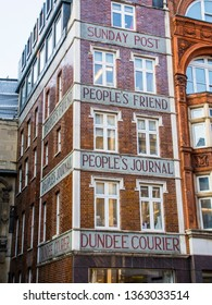 LONDON- MARCH, 2019: Old magazine publication building on Fleet Street,  with exterior lettering: Peoples Friend, Sunday Post, Dundee Courier and Peoples Journal.