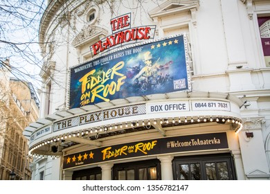 LONDON- MARCH, 2019: Playhouse Theatre near Trafalgar Square in London's West End. Currently showing the 'Fiddler On The Roof'