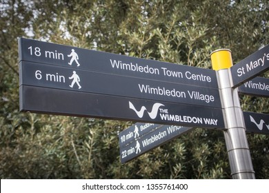 LONDON- MARCH, 2019: Sign post to Wimbledon Village and Wimbledon Town, an attractive and affluent area of south west London