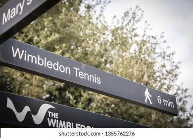 LONDON- MARCH, 2019: Sign post in Wimbledon Village directing to the Wimbledon Tennis stadium