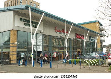 LONDON- MARCH, 2019: The Tandem Centre retail park in Colliers Wood, south west London.
