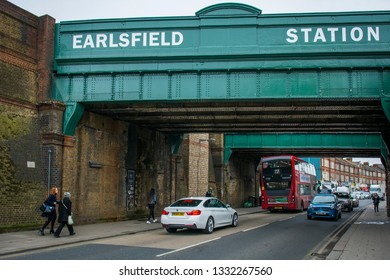 LONDON- MARCH, 2019: View of Earlsfield Station bridge and high street, an area of Wandsworth, south west London
