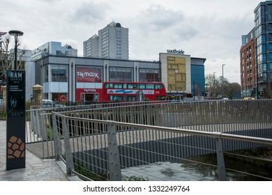 LONDON- MARCH, 2019: View of Southside Shopping Centre from the new Ram Quarter residential development in Wandsworth, south west London