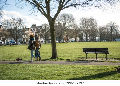 LONDON- MARCH, 2019: A view of Wandsworth Common, an attractive residential area and common ground in south west London