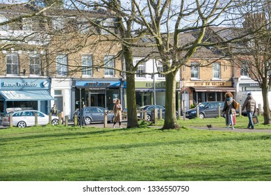 LONDON- MARCH, 2019: Wandsworth Common, an attractive residential area with shops and open park space in south west London