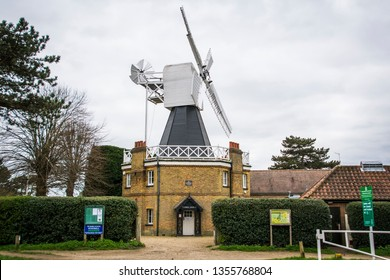 LONDON- MARCH, 2019: Wimbledon Windmill, a grade 2 listed Windmill on Wimbledon Common, with a tea room and museum
