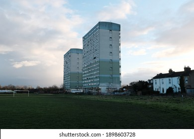 LONDON - MARCH 2020: John Walsh and Fred Wigg tower in Leytonstone, East London