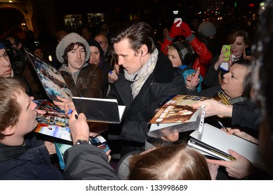 LONDON - MARCH 22: Matt Smith and Fans Attends The Press Night Of The Curious Incident Of The Dog In The Night in London March 22nd, 2013 in London, England.