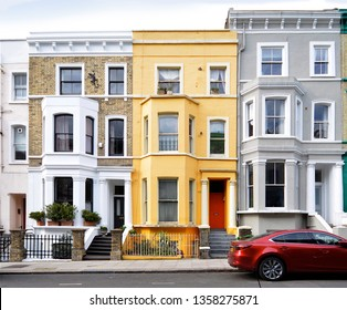 LONDON - MARCH 23, 2019. A terrace of nineteenth century town houses in the Notting Hill district of west London, UK.